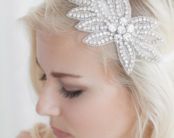 Beaded Headband, Crystal Headband, Crystal Headpiece, Bridal Headband, Bride Headband, Bridal Headpiece, Wedding Headband, Bride Hairpiece