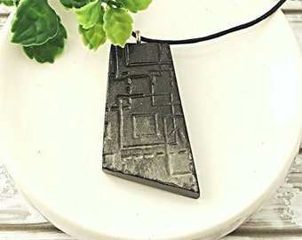 Black statement necklace, Long necklace, Black necklace, Gradient necklace, Long pendant, Ombre necklace, Air dry clay not polymer clay