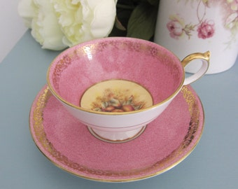 Vintage tea cup, Aynsley Cup Saucer, Orchard Fruits, Pink tea cup,English bone china, afternoon tea, vintage Wedding, gift for her,mum, nan