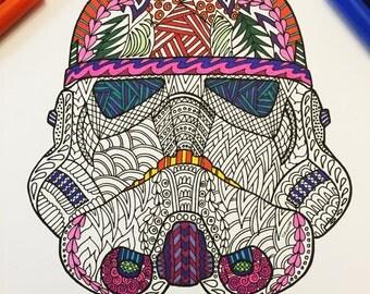 Storm Trooper Helmet - PDF Zentangle Coloring Page