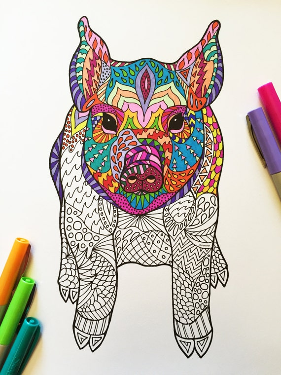Sitting Pig Pdf Zentangle Coloring Page By Djpenscript On Etsy