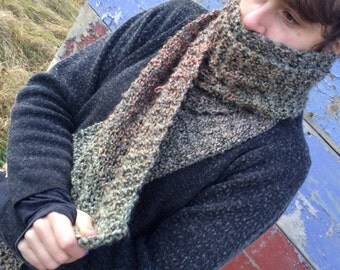 Luxurious Hand Knitted Extra Long Full Neck Scarf Knit Warmer - Marbled Green/Khaki/Copper/Grey/Gray/Silver -  For Men & Women