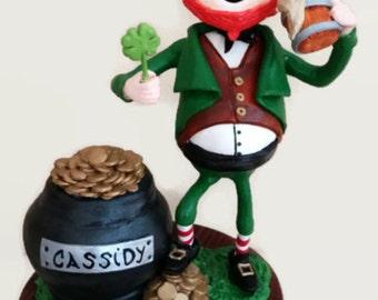 Personalized Irish Leprechaun With Pot of Gold  Keepsake Saint Patrick's Day Clay Ornament Happy Leprechaun Gift