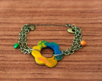 Hippie bracelet ceramics and chain, B009