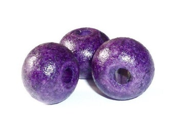 15mm ceramic bead / purple, Plum, purple / matte beads