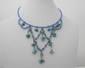 Blue beaded wire necklace choker