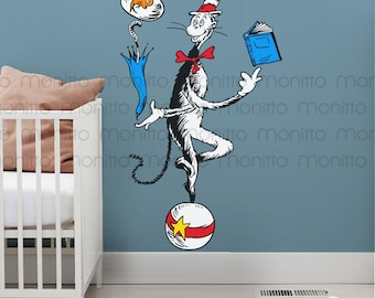 Cat Juggling on Ball - Dr Seuss Quote - Wall Decal for Playroom, Nursery, Kids Bedroom, Wall Art, Cute Wall Stickers [MT008]