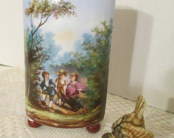 Vase with People Scene on One Side and  Leaves on Other Side.  Vintage.  Ceramic.  Victorian  Scene.  Footed.
