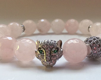 Rose Quartz Beads   Diamond Leopard Head Bracelet   Silver Pave CZ Diamonds Quartz Bracelet   Tiger Cat Bracelet   Stretch Bracelet