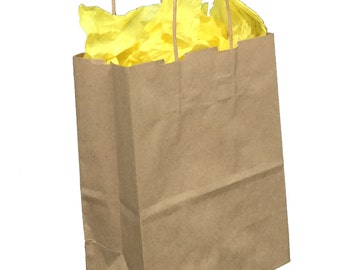 Pack 25 handled Kraft paper bag,8x4.5x10.25,Kraft gift bags,Kraft shopping bags with handles,small paper gift bags,brown paper bags