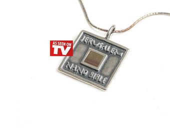 925 Silver Sterling Classic Jerusalem Nano Bible Necklace