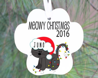Personalized Cat Ornament, Personalized Cat Gift, Cat Christmas Ornament, Ornament Cat, Christmas Cats, Gift for Her, Personalized Ornament