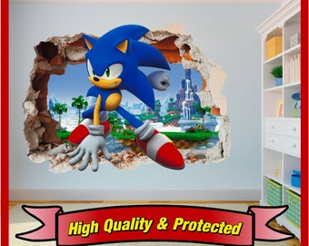 Exceptional Sonic The Hedgehog Hole In Wall Art Stickers Decal Childrens Bedroom Boys  And Girls