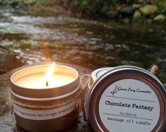 Chocolate Fantasy- massage candle, aphrodisiac, Valentines gift, boyfriend gift, girlfriend gift, couples gift,  massage oil, aromatherapy