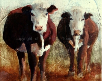 Hereford Cow Print 8.5 x 11 paper size Cow Print from original oil painting Cow art Cow painting Cow decor Cow oil painting Brown cow