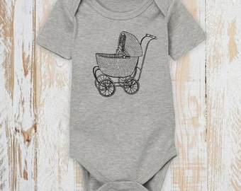Victorian Stroller Baby Bodysuit - Organic Cotton - Victorian - Screen Printed - Baby Clothes - Made in USA
