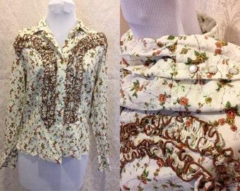 SALE 1970s Western Boho Chic Desert Babe Cowboy Floral Ruffled Button Up Blouse Sz S-M