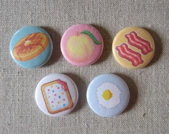 "Pixel Breakfast Food 5-pack pin set 1"" pinback buttons"