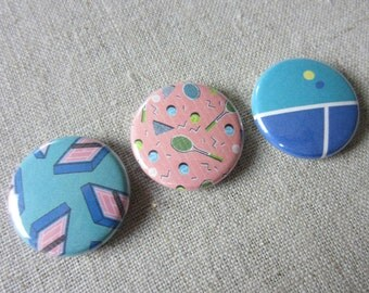 tennis retro colorblock 3 pack pinback buttons