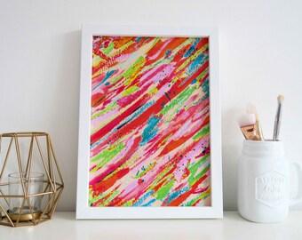 Colourful Abstract Art Print, A4 Print Wall Art, Abstract Art Print, Colourful Prints, Abstract Art, Wall Art Colourful Print