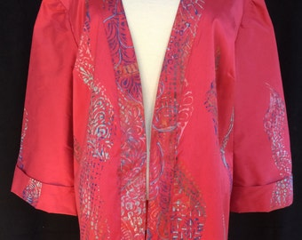 Exquisite Plus Size Red Silk Jacket