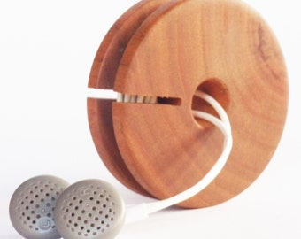 Wooden Earphone Holder, Earbud Cord Organizer, Headphone Case, Earphone Organizer
