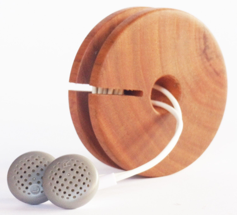 Wooden earphone holder earbud cord organizer headphone case - Wooden headphone holder ...