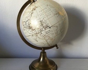 Custom hand lettered calligraphy globe - Gold globe