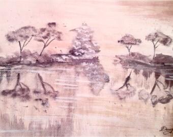 Watercolor painting ,,Golden Autumn,,