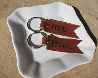 Leather Mr. & Mrs. Key Chain Set