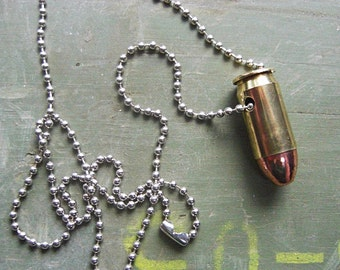 Real Bullet Necklace - .45 ACP - Handmade Bullet Necklace - Bullet Jewelry - Bullet Necklace made out of a Real Bullet - ball chain necklace