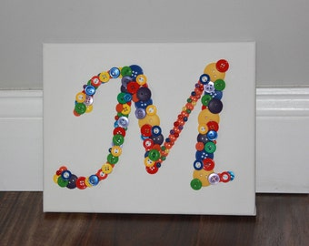 Personalized Nursery Art, Personalized Button Art, Baby Shower Gift, Rainbow, Rainbow Button M