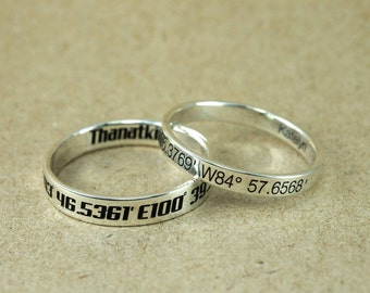 Name Ring - Engraved Ring - personalized ring, latitude longitude Ring, Location Ring, Stamped Ring, Personalized name Jewelry, initial Ring