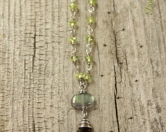 Peridot necklace with Smoky quartz pendant. Peridot and Smoky Quartz necklace. August birthstone.