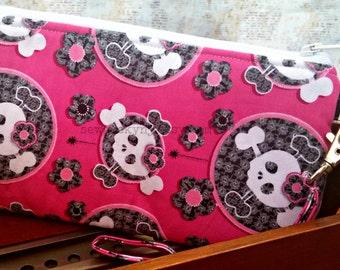 Girly Skulls Wristlet - Pink - Flowers - Nerd - Geek - Wallet - Zippered Pouch - Clutch - OOAK - Custom Made