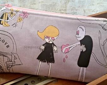 Zombie Wristlet -  Nerd - Geek - Wallet - Zippered Pouch - Clutch - OOAK - Custom Made
