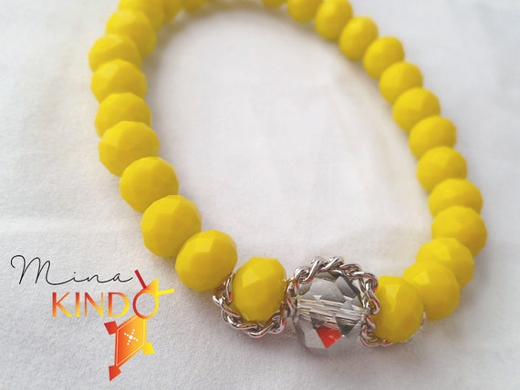 Yellow beaded bracelet, handmade bracelet, bracelet Crystal beads, faceted beads Rhinestones, baptism, birthday, mother's day, modern