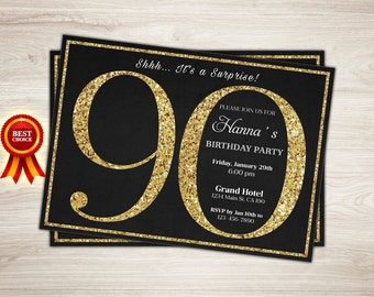 90th birthday invitation. Gold Glitter 90th surprise birthday invitation. Adult birthday invitation. Surprise Birthday Party Printable
