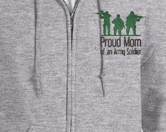 Custom Embroidered Full Zip Hoodie With Proud Army Mom Logo