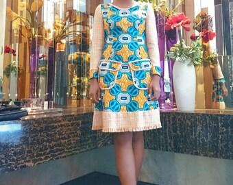 ON SALE! AIMEEKU - Amber Waxprint Tweed Dress