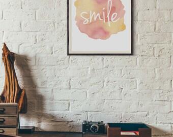 Printable Art, Smile Art, Digital Art Print, Wall Art, Home Decor, Watercolor Art, Watercolor Word Art, Typography Art (0004)