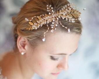 Bridal Hair Comb Gold and Crystal