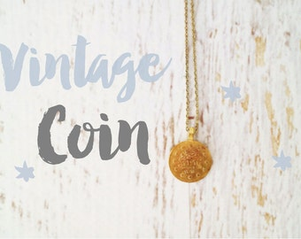 Custom Vintage Tiny Coin Charm Necklace With Dainty Chain