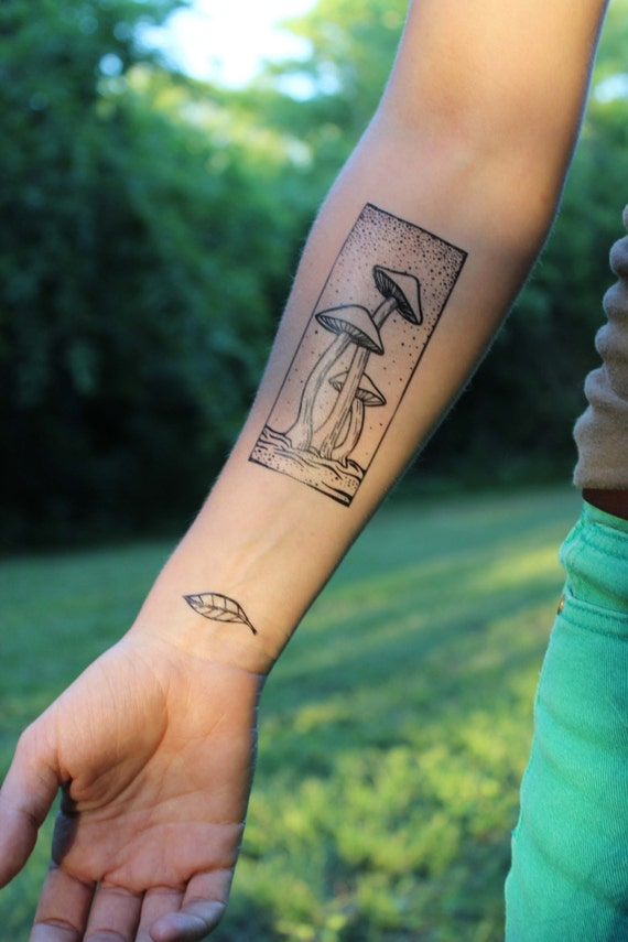 Wild Mushrooms, Rectangle, Black Line, Temporary Tattoo, Fungi, Fungus, Nature Tattoo, Spring Tattoo