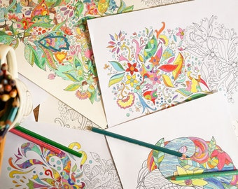 20 Hand Drawn Printable Colouring Pages - Instant Download!