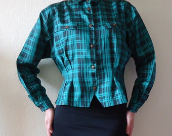 Vintage Plaid Blouse Womens Emerald Green Blouse Checkered Green Black Blouse Long Sleeves Blouse Medium/Large