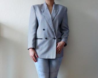 Houndstooth Jacket Womens Vintage Jacket Black and Grey Blazer Preppy Jacket Checkered Blazer 80s Blazer Size Large