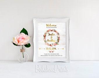 Printable Wedding Sign Welcome Wedding Sign Custom Wedding Sign Customized Sign Blush & Gold Wedding Large Wedding Sign Digital Download