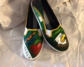 Hand Painted School Themed Shoes