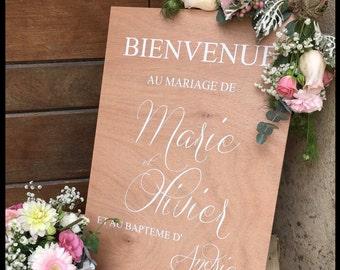 Panneau de bienvenue personnalisable pour mariage. Pancarte de bienvenue pour mariage. Custom wedding welcome sign